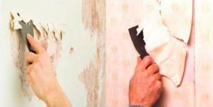 Прежде всего со стен снимают старые обои, краску и штукатурку