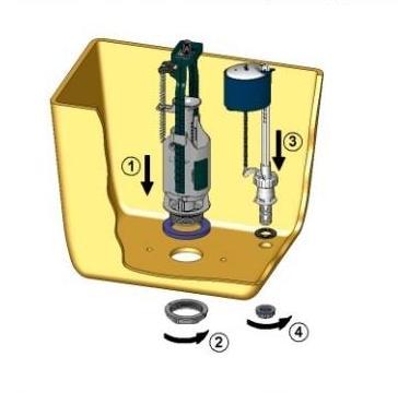 схема установки арматуры сливного бачка